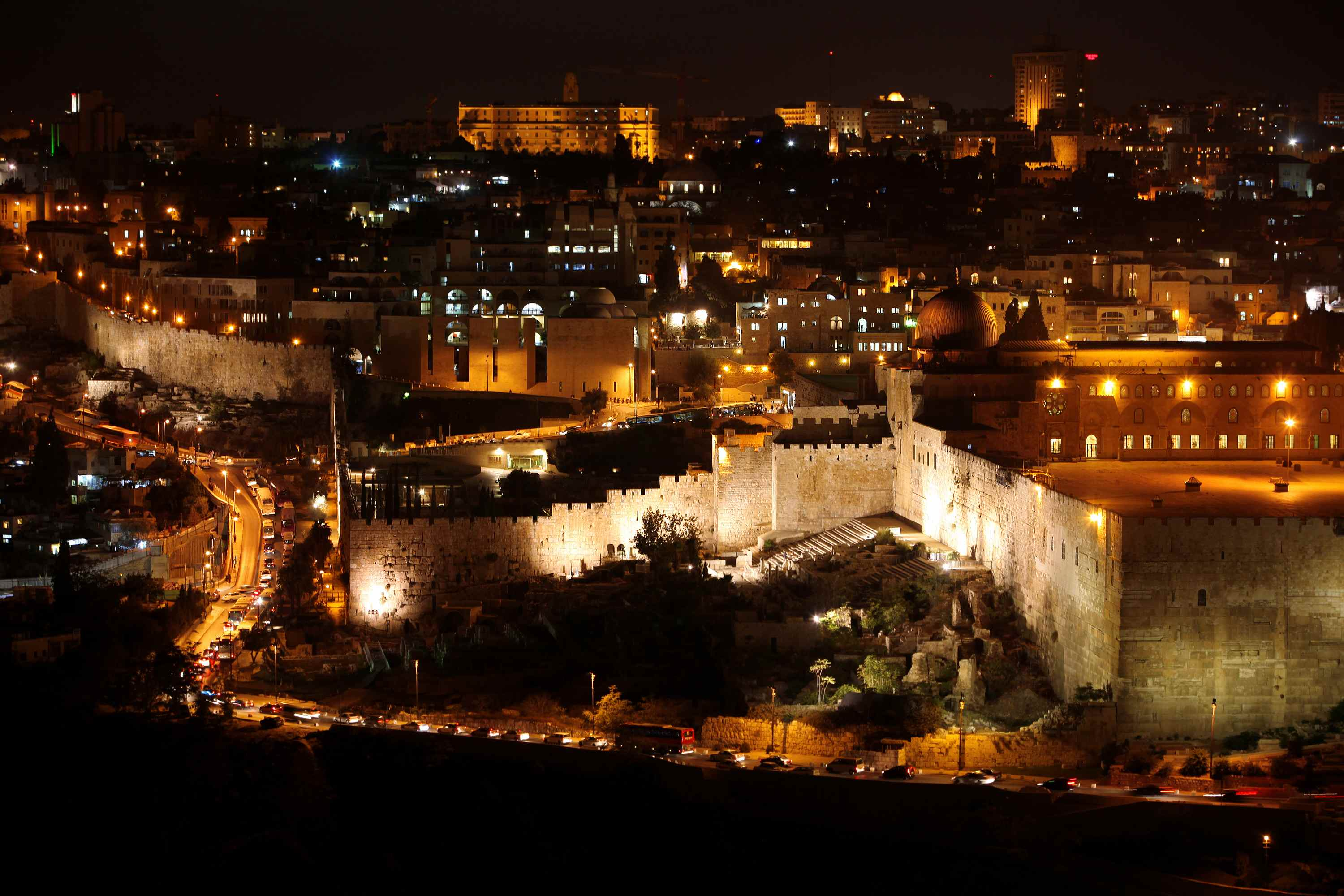 Classic Jerusalem - Night in old city, Temple Mount with Al-Aqsa Mosque, view from the Mount of Olives, Israel